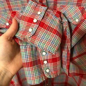 Levi's Shirts - Vintage Levi's Plaid Cowboy Snap Shirt